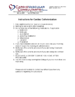 Cardiac Catheterization Instructions